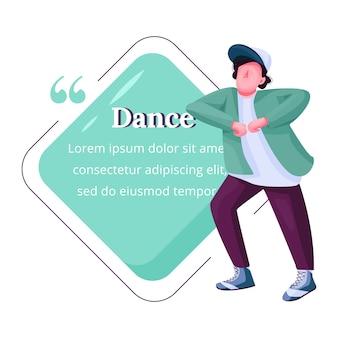 Cita de personaje de color plano joven bailarín. chico bailando gratis, breakdance intérprete masculino adolescente. cita plantilla de marco en blanco. burbuja de diálogo. diseño de cuadro de texto vacío de cita