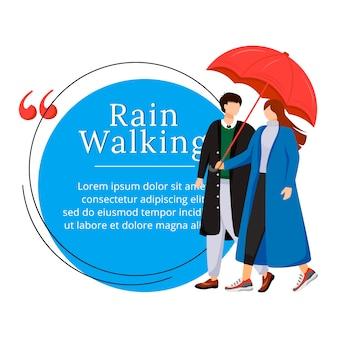 Cita de personaje de lluvia caminando