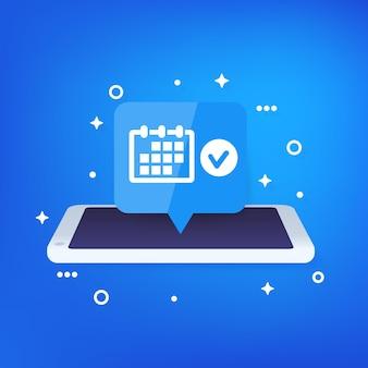 Cita, programación de eventos, notificación en teléfono inteligente.