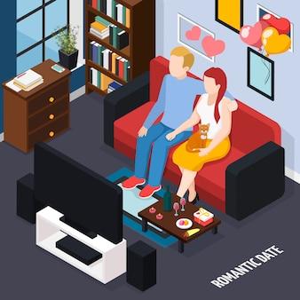 Cita romántica cena para dos en casa composición isométrica con pareja en el sofá viendo la ilustración de televisión