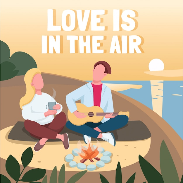 Cita romántica en la playa de las redes sociales. el amor está en la frase de aire. plantilla de diseño de banner web. booster, diseño de contenido con inscripción.