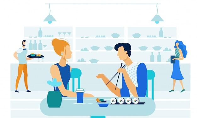 Cita romántica en sushi bar