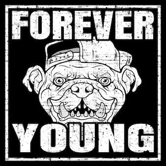 Cita de vector de estilo grunge sobre jóvenes y peligrosos con bulldog con gorra