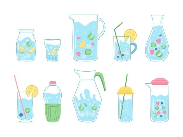 Citar beber más agua impresa, beber con botella de vidrio y vaso. varios frasco sobre fondo blanco. agua mineral y natural en botellas transparentes. doodle dibujado a mano linda moda