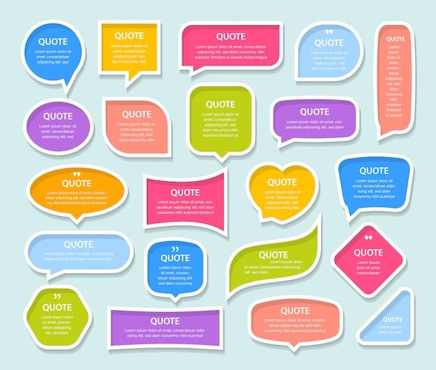 Citar cuadros de texto coloridos marcos 3d plantilla en blanco con diseño de información de impresión