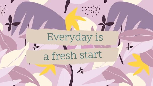 Citar plantilla de banner de blog, mensaje inspirador editable, todos los días es un nuevo comienzo