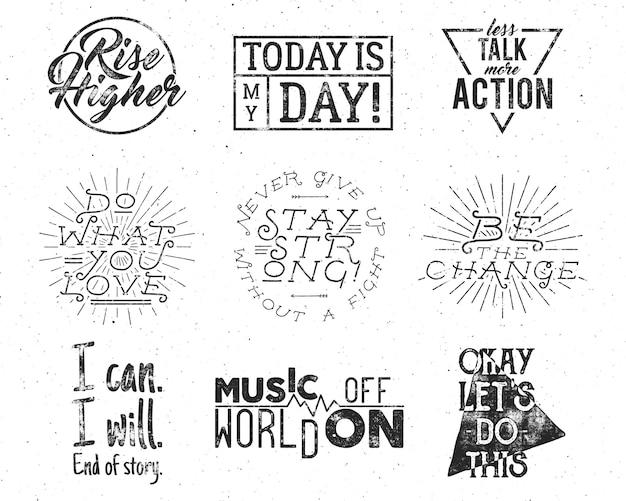 Las citas de estilo de vida inspiradoras de tipografía establecen etiquetas retro de motivación.