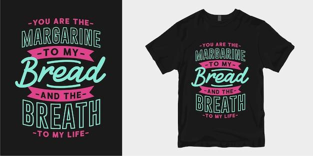 Citas de lema de tipografía de diseño de camiseta de cocina