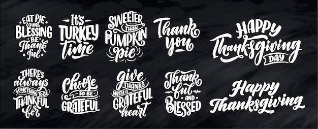 Citas de letras dibujadas a mano para el día de acción de gracias. tipográfico