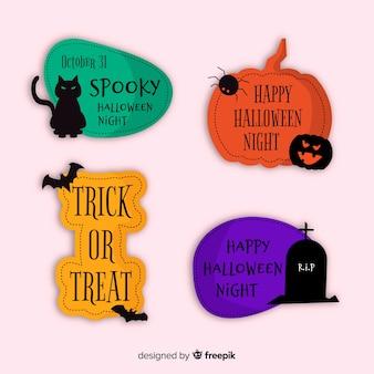 Citas tradicionales de halloween para la colección de etiquetas y distintivos