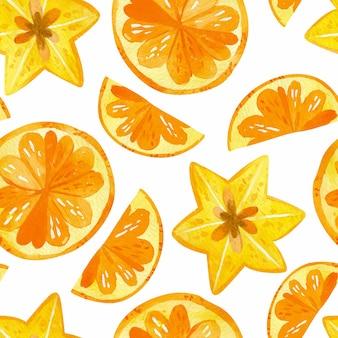 Cítricos y dibujos de carambola de patrones sin fisuras. textura de mezcla de frutas de verano.