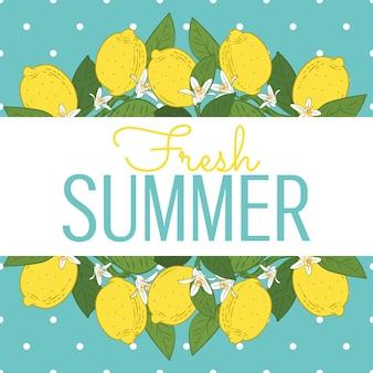 Cítricos tropicales frutas limón brillante tarjeta de verano