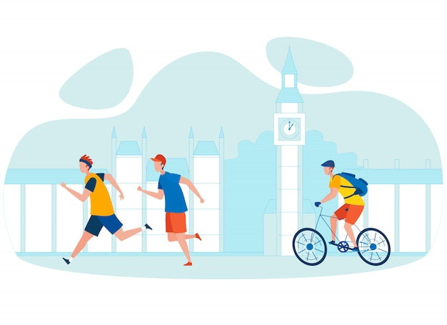 City bicycle tour cartoon illustration