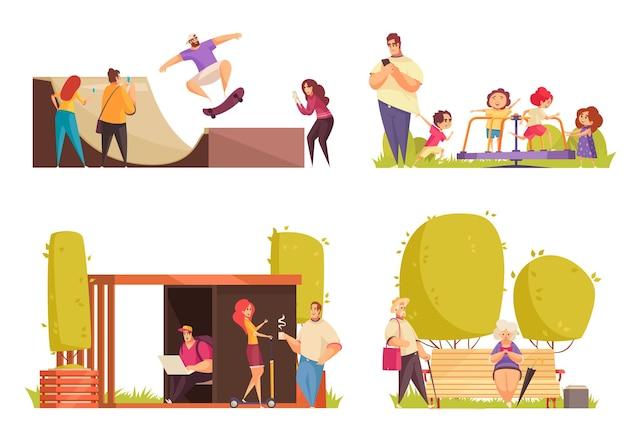 City park 4 flat set con niños en carrusel, skate, construcción y ancianos en un parque.