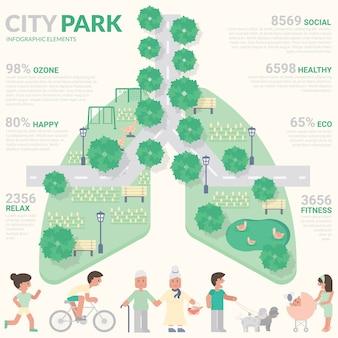 City park infografía. concepto saludable.