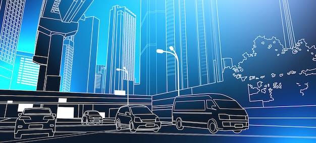 City road moderno de la línea del paisaje urbano con rascacielos altos