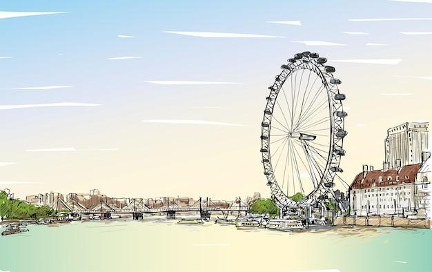 City scape dibujo london eye y puente, río, ilustración