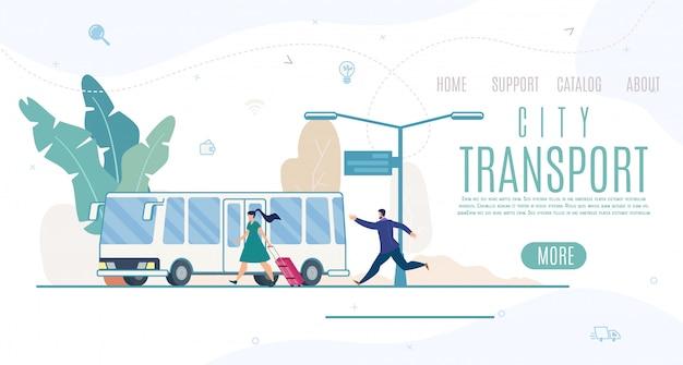 City transport company, plantilla de sitio web de servicio o página de destino