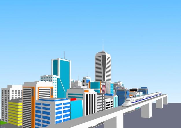 Ciudad 3d con un tren de alta velocidad