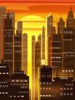 Ciudad al atardecer, escena de la ciudad, rascacielos, torres, cielo estrellado, luces y el horizonte.