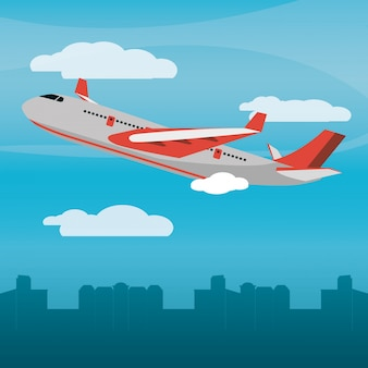 Ciudad de avión rojo luz del día