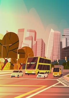 Ciudad calle rascacielos edificios vista de la ciudad paisaje urbano moderno centro de singapur