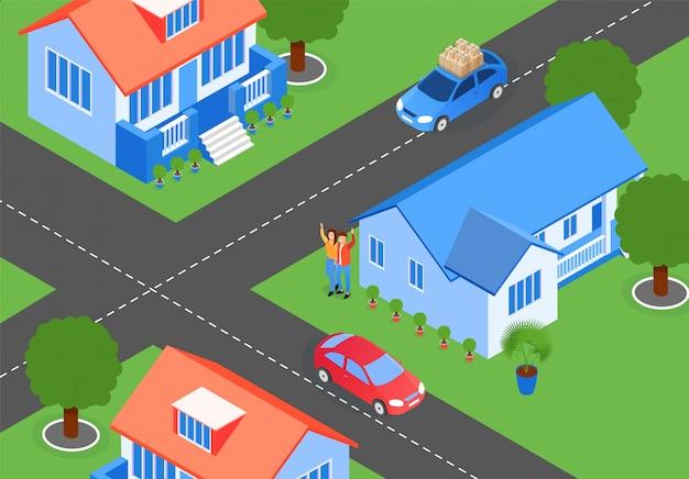 Ciudad calles cruce de planos