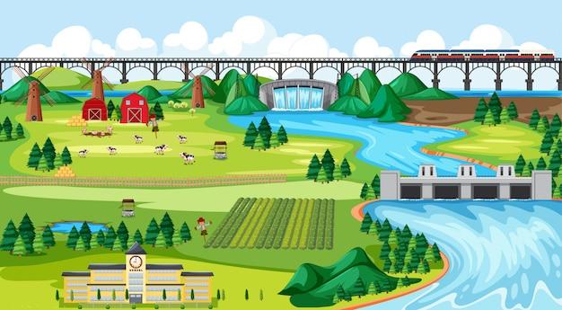 Ciudad de campo agrícola y escuela y puente sky train con presa paisaje lateral estilo de dibujos animados