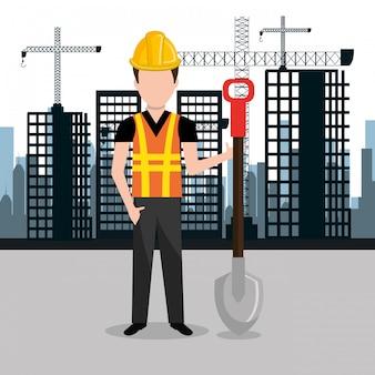 Ciudad en construcción paisaje urbano fondo icono