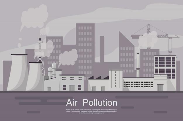 Ciudad con contaminación del aire por planta y tubería sucia.