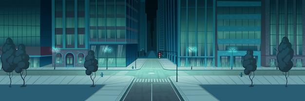 Ciudad de cruce de noche, banner de intersección de transporte vacío