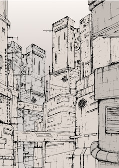 Ciudad cyberpunk fantásticas construcciones de edificios. dibujado a mano ilustración monocroma.