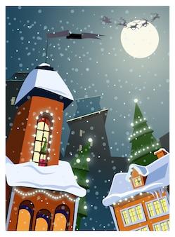 Ciudad decorada con luces en ilustración de invierno