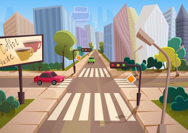Ciudad de dibujos animados de moda con calle de cruce