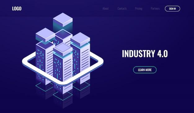 Ciudad digital, ciudad urbana isométrica, rascacielos, computación en la nube, almacenamiento de datos en la nube