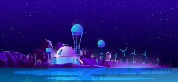Ciudad ecológica verde, energías limpias alternativas, ecología.