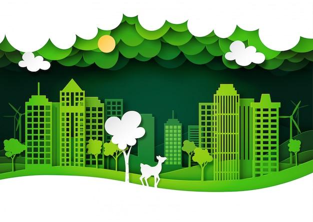 Ciudad ecológica verde y fauna de ciervos con paisaje natural, estilo de arte de papel de capas.