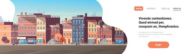 Ciudad edificio casas ver horizonte fondo bienes raíces linda ciudad bandera