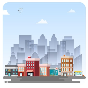 Ciudad edificio ilustración paisaje fondo cielo azul