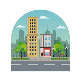 Ciudad edificios tiendas silueta paisaje ciudad