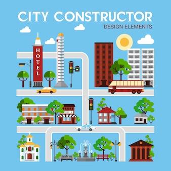 Ciudad de elementos de diseño de constructor