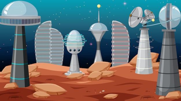 Ciudad en escena espacial