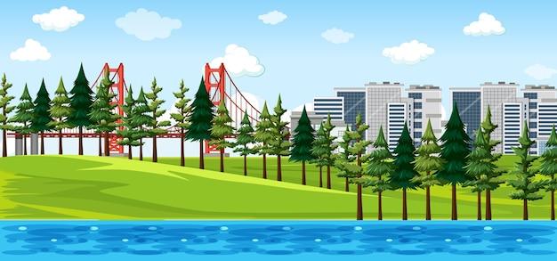 Ciudad con escena de paisaje de parque natural.