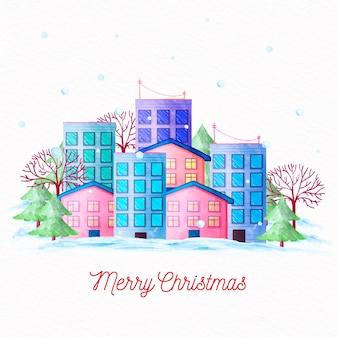 Ciudad de fondo de acuarela de navidad