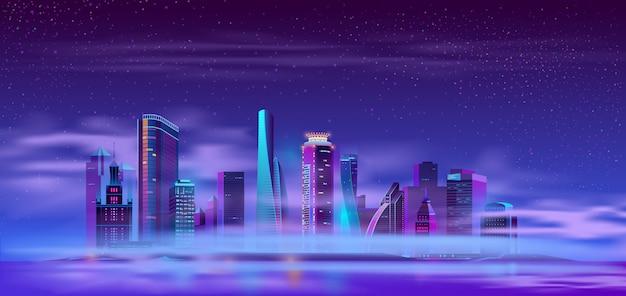 Ciudad futura en caricatura de isla artificial