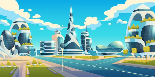 Ciudad futura, edificios futuristas de vidrio de formas inusuales y plantas verdes a lo largo de la carretera vacía. arquitectura moderna torres y rascacielos. diseño de viviendas urbanas extraterrestres, ilustración vectorial de dibujos animados
