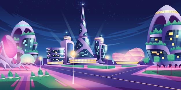 Ciudad futura con rascacielos y cruce de caminos