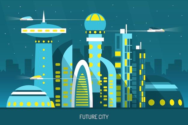 Ciudad futura con rascacielos de diversas formas, transportes aéreos en la ilustración de vector horizontal de fondo de cielo nocturno