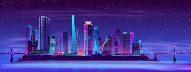 Ciudad futura sobre fondo de vector de isla artificial