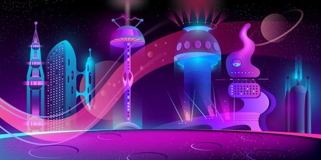 Ciudad futurista en otro planeta.